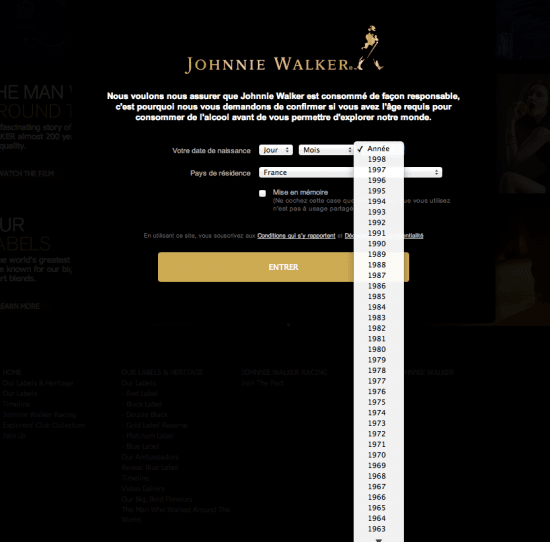 Age Gate Johnnie Walker France, the myndset digital marketing