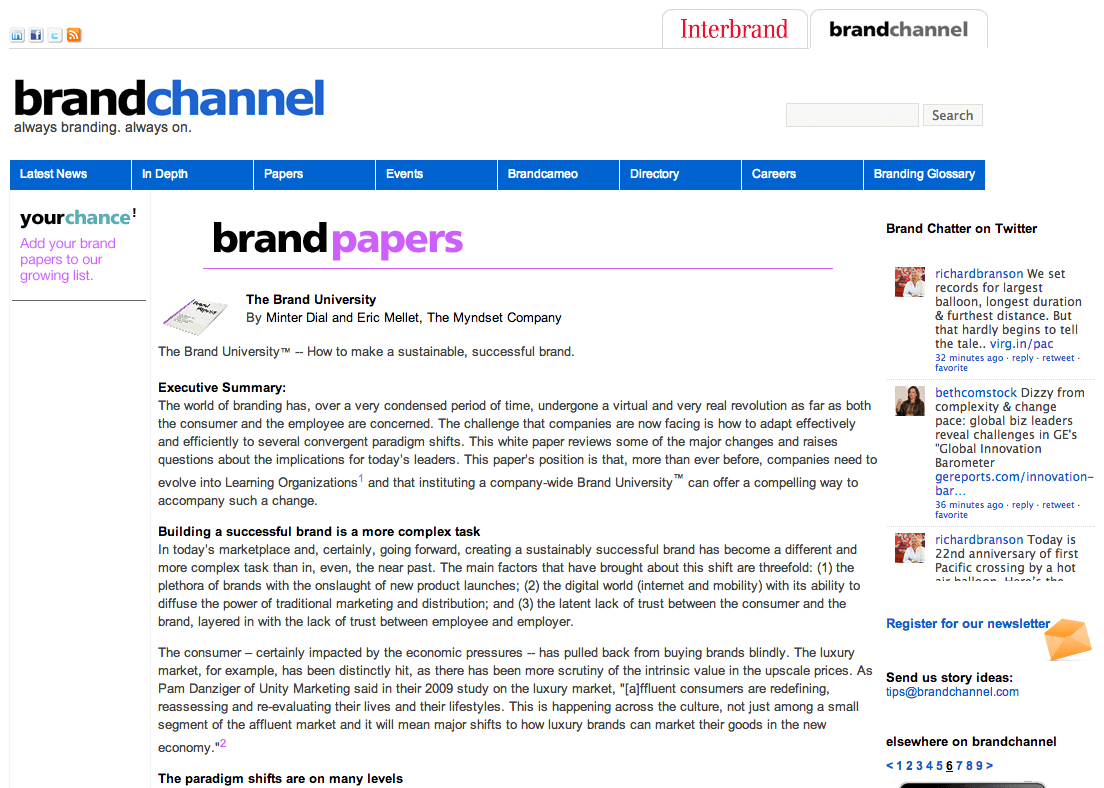 BrandChannel Brand University, The Myndset Digital marketing and brand strategy