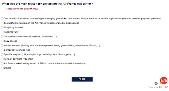 Customer satisfaction Air France survey