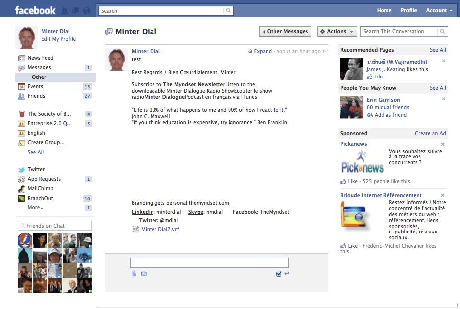 Facebook messages interface