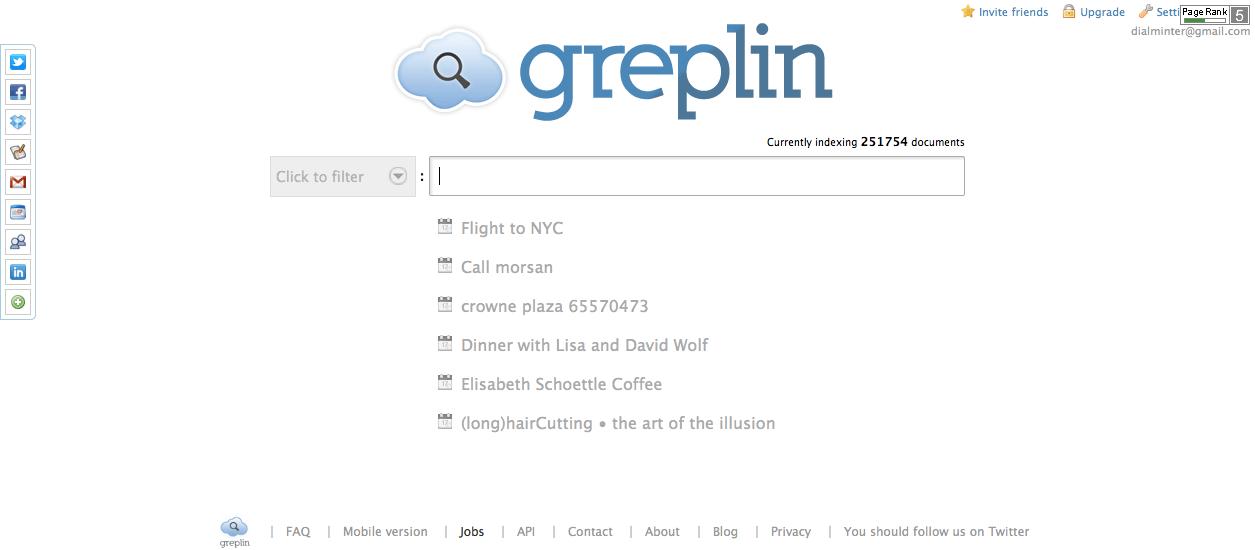 Greplin home page