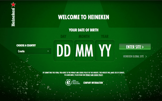 Heineken age gate, the myndset digital marketing brand strategy