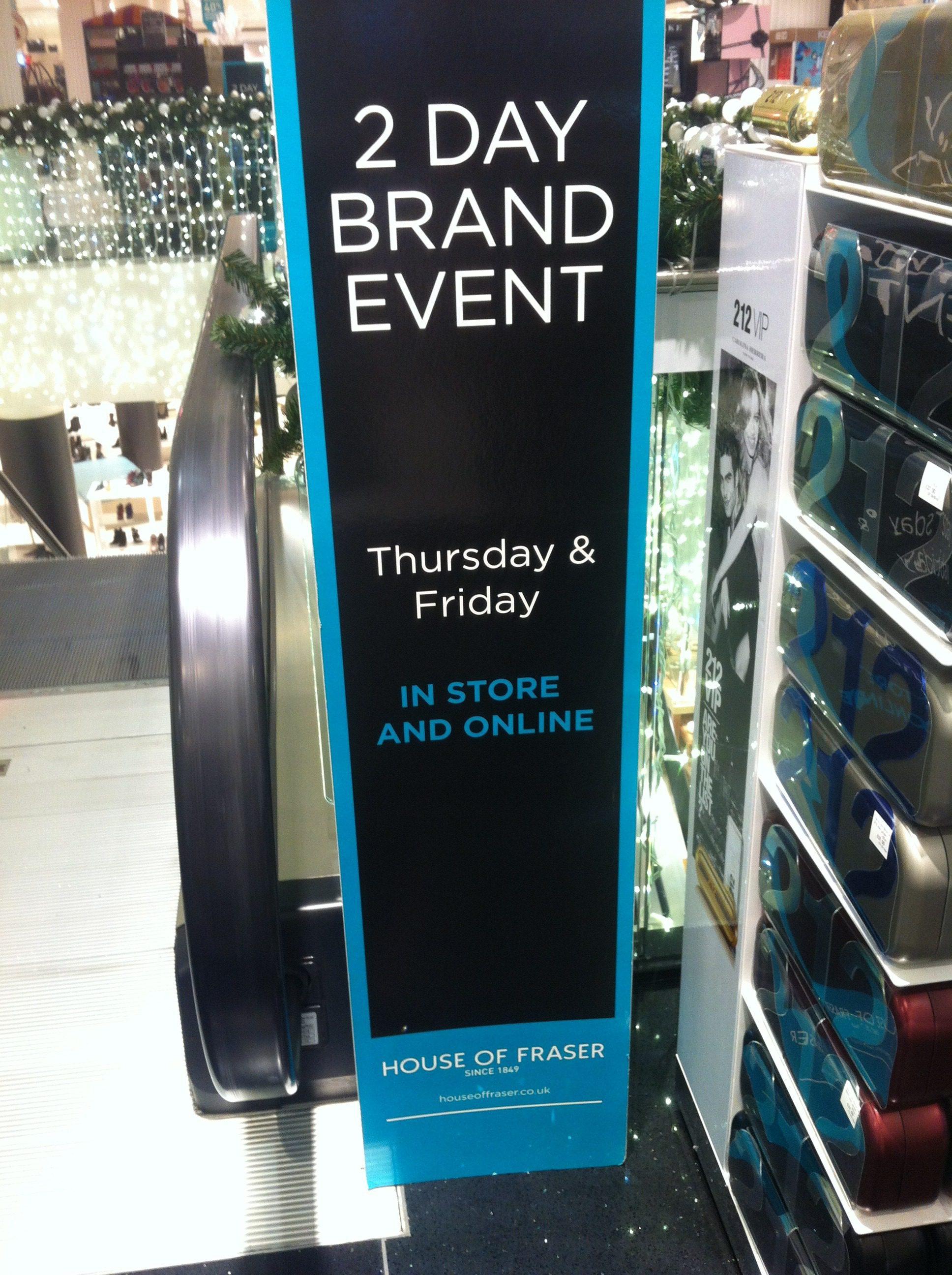 House of Fraser entrance, The Myndset Brand Strategy and Digital Marketing