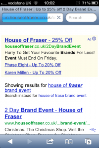 House of Fraser on mobile search, The Myndset DIgital Marketing and Brand Strategy