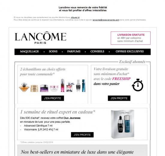 Loyalty marketing Lancome email - the myndset digital marketing brand strategy