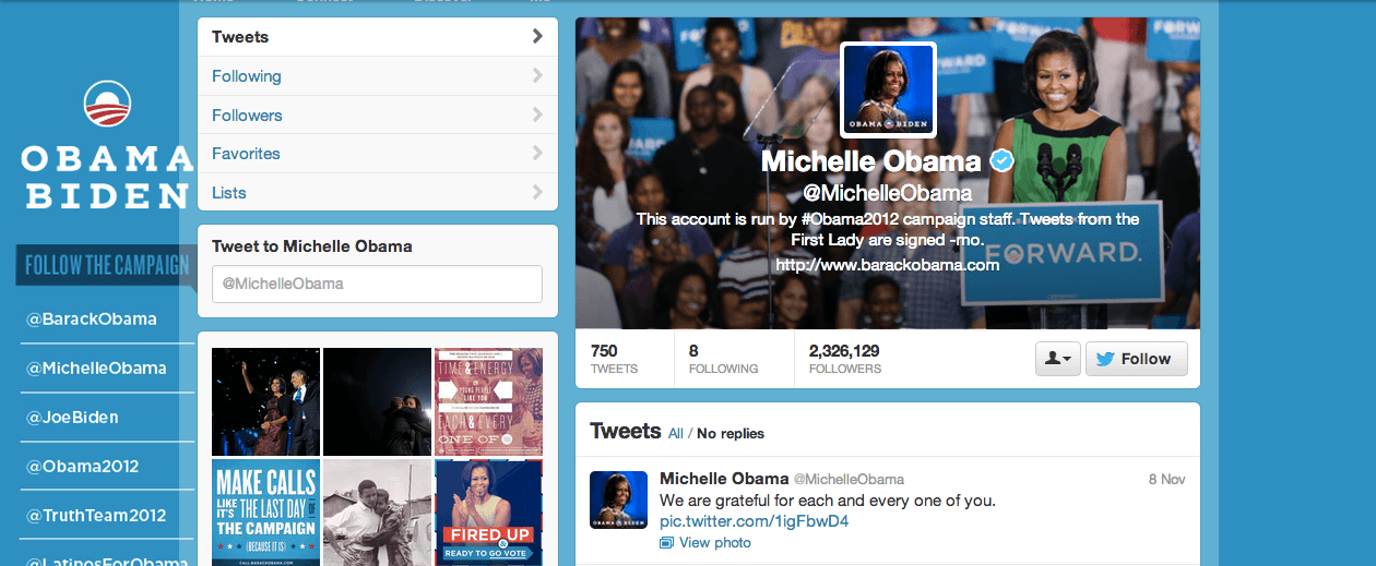 Michelle Obama twitter profile, The Myndset Digital Marketing and Brand Strategy