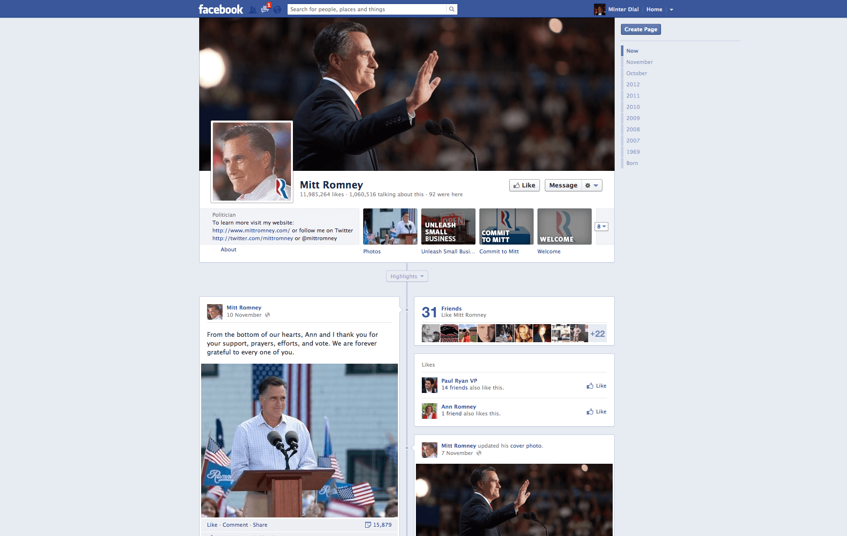 Mitt Romney Facebook page, The Myndset Digital marketing and brand strategy