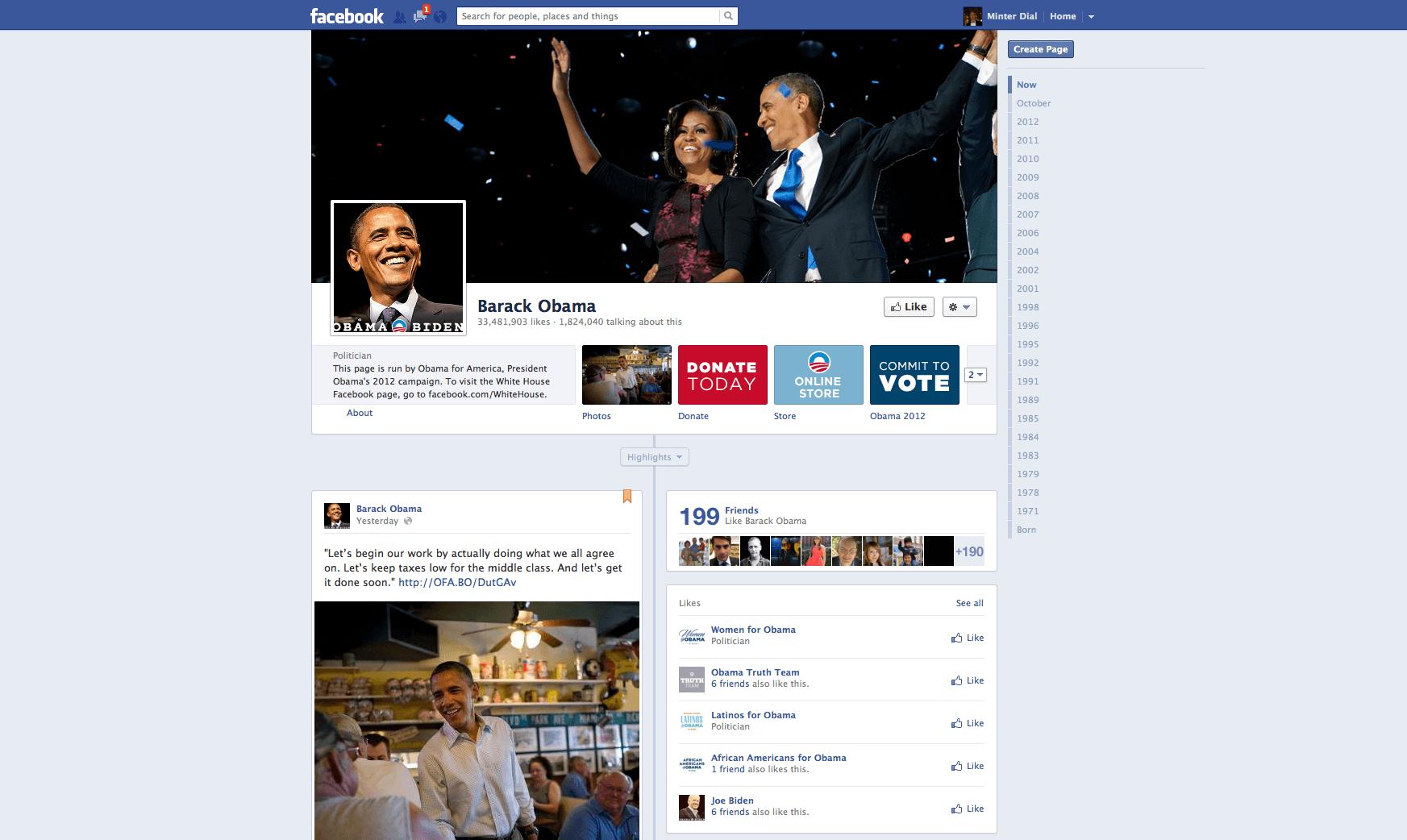 Obama Facebook page, The Myndset Digital marketing and brand strategy