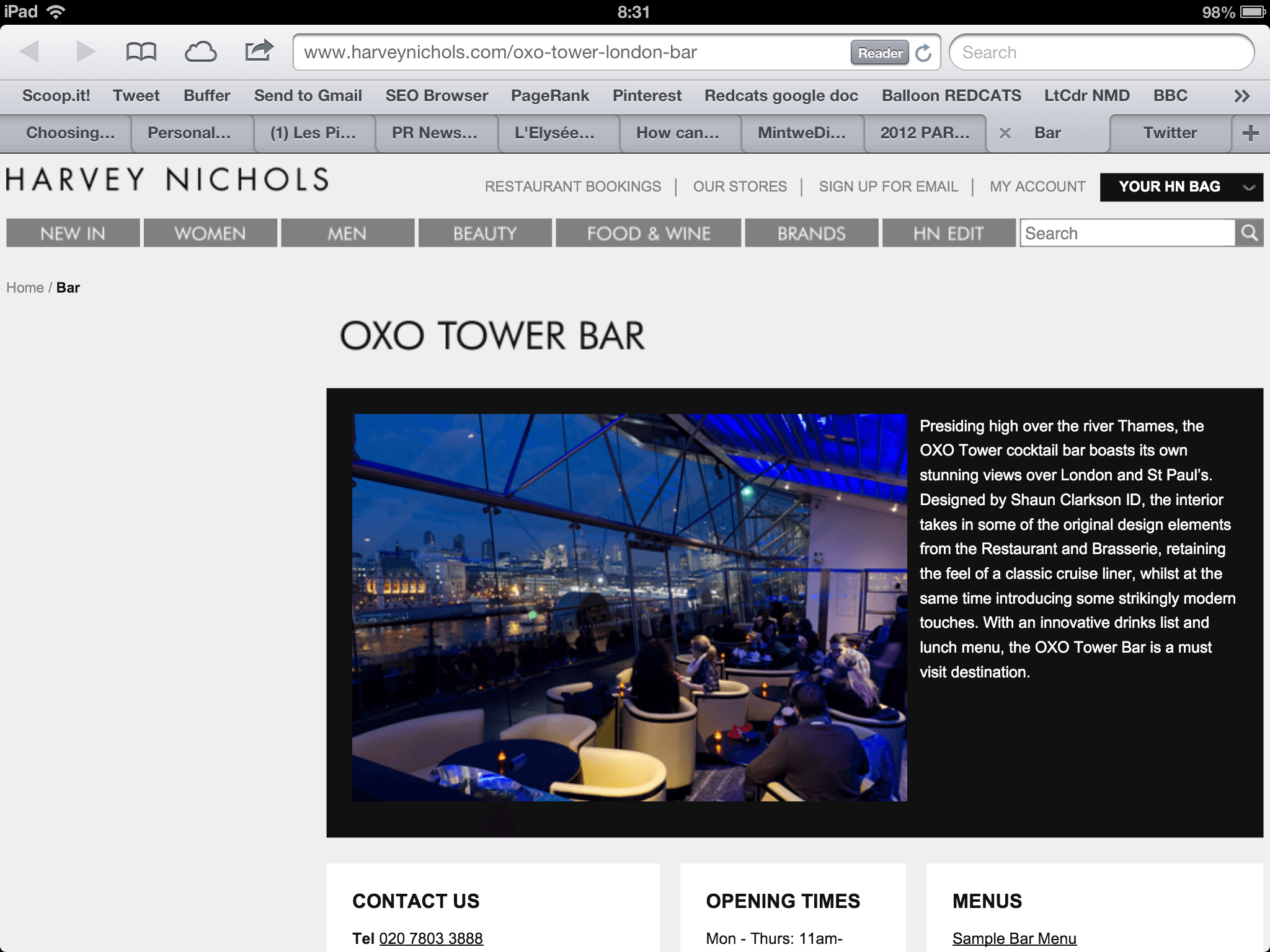 Oxo Tower Bar website, Myndset Digital Marketing and Brand Strategy by Minter Dial