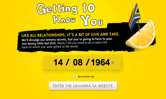 Savanna Cider Age Gate, The Myndset digital marketing brand strategy