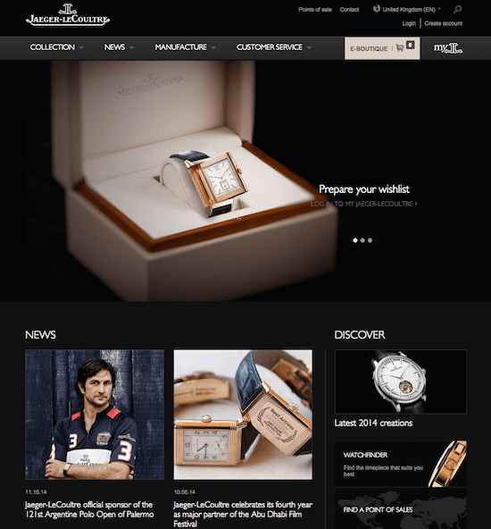 Jaeger-Lecoultre Home page - luxury web design
