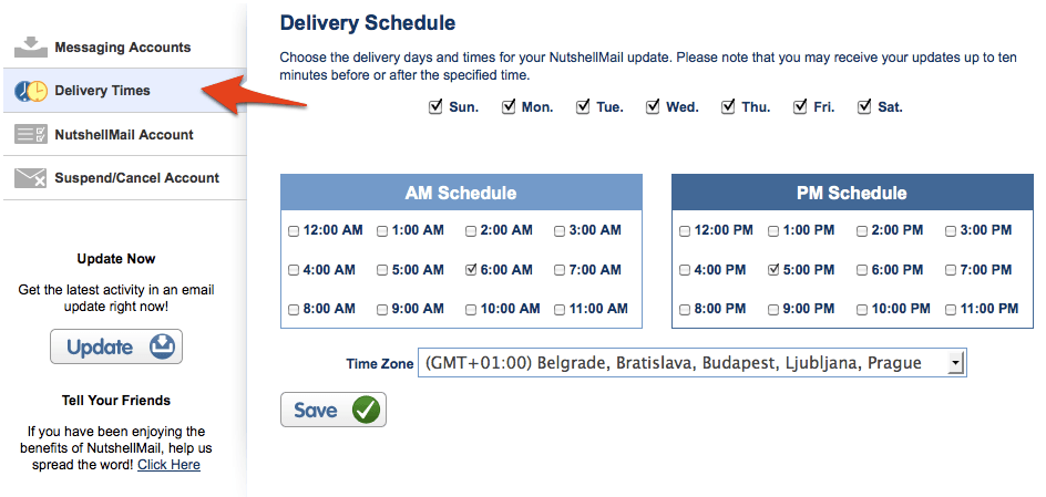 Delivery Times for Nutshell Mail