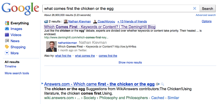 Social Search Effect: Which comes first chicken or egg