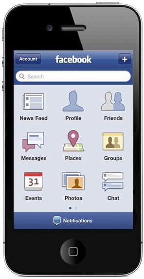 """New Facebook home page with """"Messages"""""""
