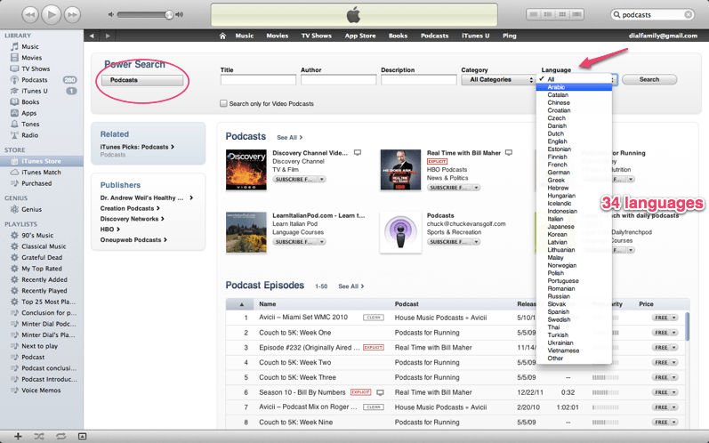 itunes languages for podcast, from The Myndset