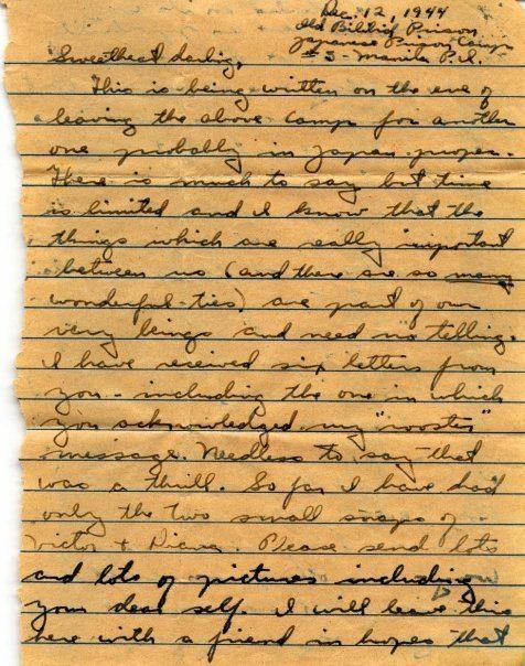 Minter Dial Last Letter Bilibid Prison, Manila Dec 1944