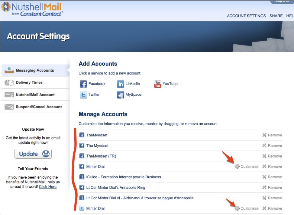 Nutshell mail account settings