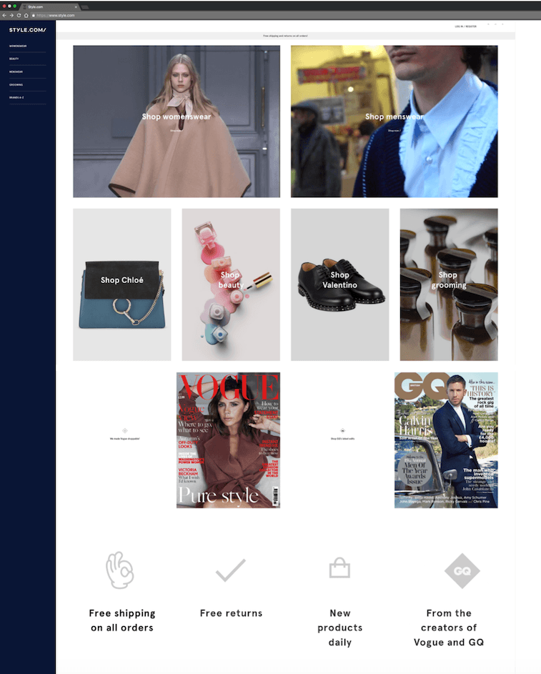 style.com home page