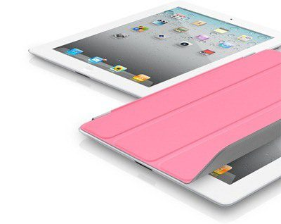 White ipad with rose magnetic cover