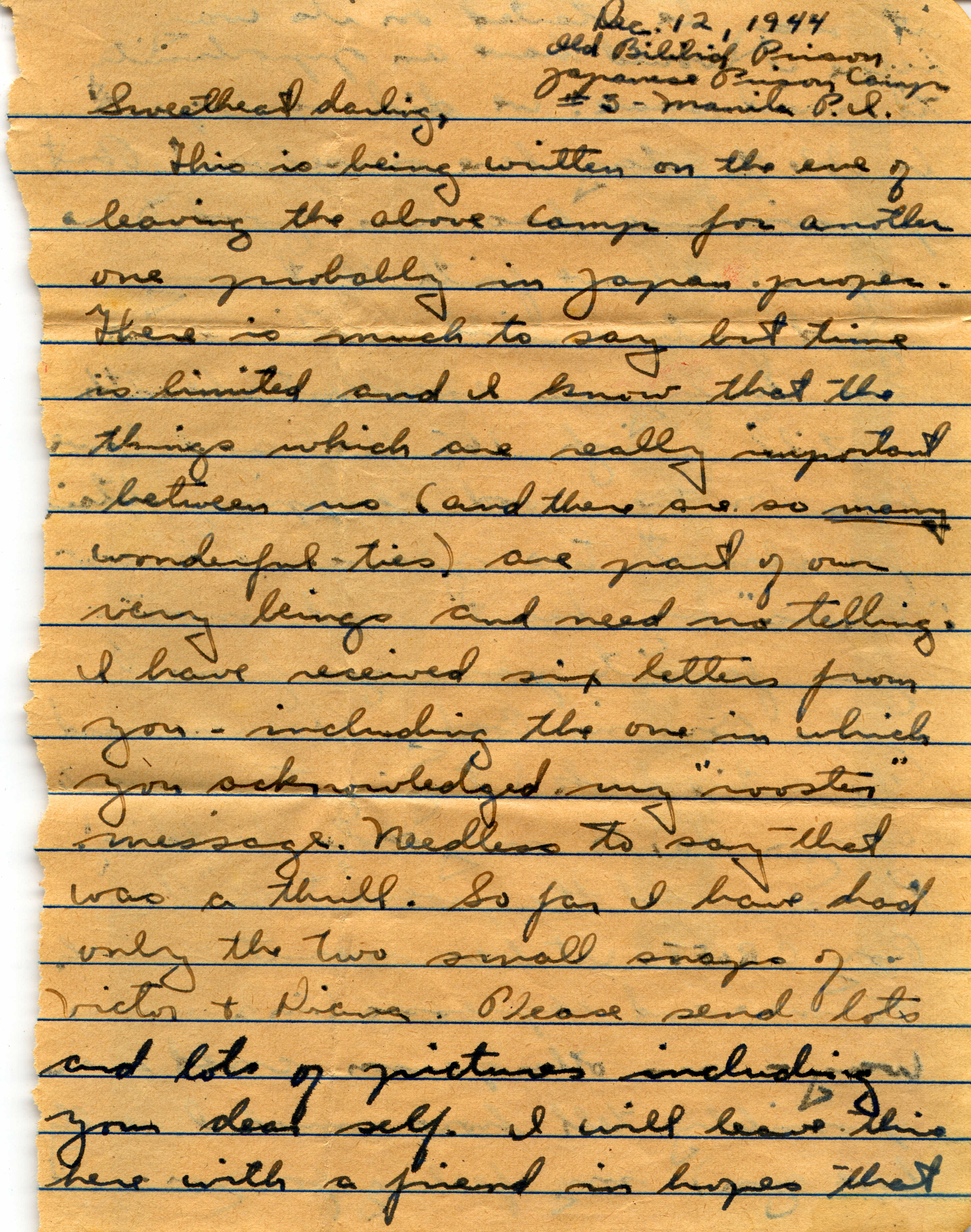 Last Letter written on December 13, 1944