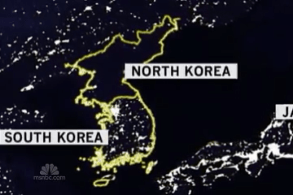 Korea by night from satellite, from The Myndset