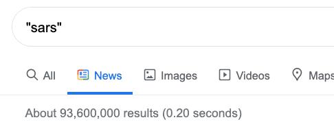 sars search on Google