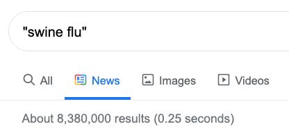 swine flu search on Google